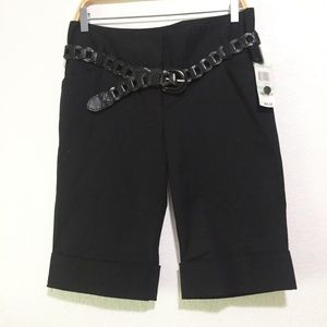 NWT INC CUFFED BLACK PEDAL PUSHERS SZ8